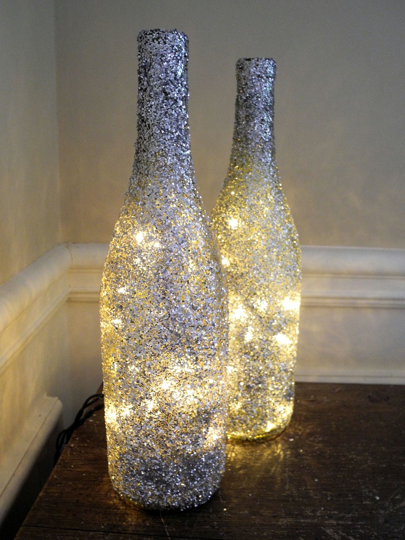 Glitter Lighted Wine Bottle Wine Bottle Lamp Bar by DazzleMePink