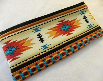 Large long zipper Pencil Case-Navajo fabric-Last one