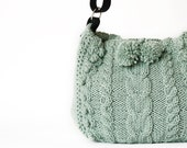 Mint green hand knitted messenger bag with adjustable leather long strap