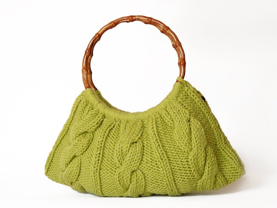 Green knited bag Handmade - Handbag - Shoulder Bag