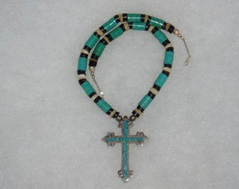 Sterling Cross Necklace with Turquoise Inlay, Southwestern Style