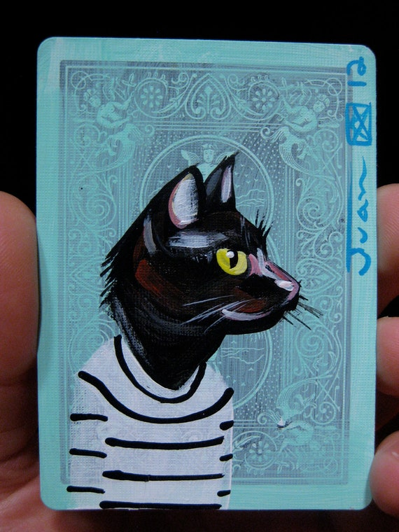 Cat portrait N75 on a playing cards. Original acrylic painting. 2012