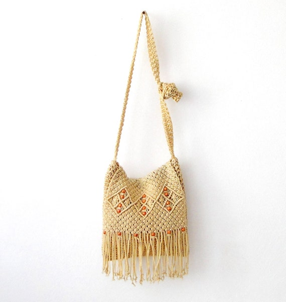 Hippie macrame crochet beige messenger shoulder bag