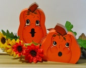 Halloween Pumpkins, Hand Painted, Wood Pumpkins, Halloween Decor