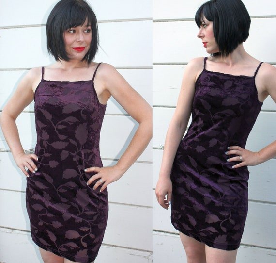 vtg 90s dress // plum floral burnout VELVET MINI dress body con // S c822