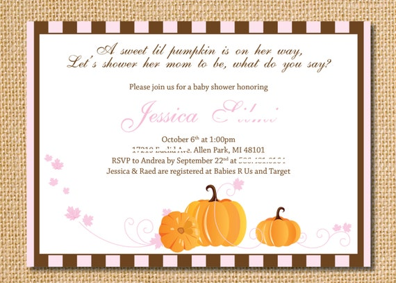 pumpkin baby shower or birthday invitation digital file on etsy