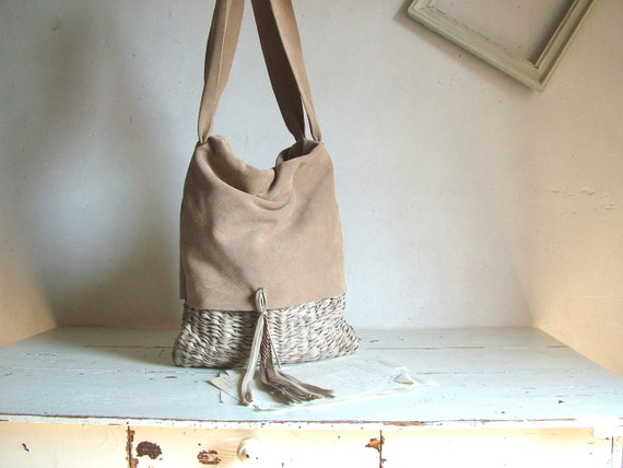Suede Slouchy Beige Tote with Natural Handweave and Tassel Finish. Ready to Ship SALE - 25% off with coupon code 'READYTO SHIP'