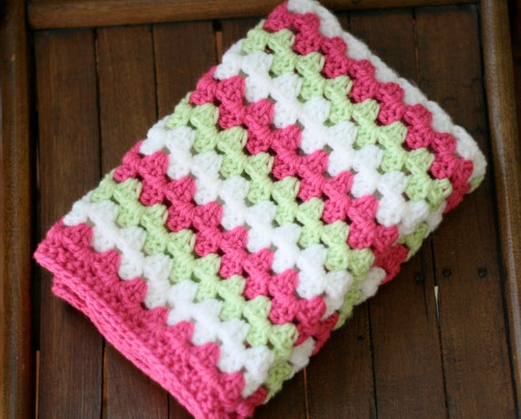 Crochet Pattern For Granny Stripe Baby Blanket : Items similar to Crocheted Baby Blanket Granny Stripe Baby ...