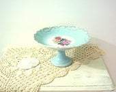 Vintage Dessert Pedestal Plate Cake Aqua Porcelain Shabby chic 1940s