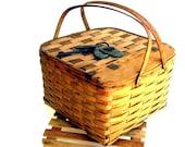 Vintage Picnic Basket Antique Wood Pie Grate Oak Splints 1930s Picnic Basket
