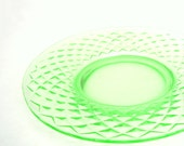 Vintage Depression Glass Green Plate 1930 Quilted Diamond