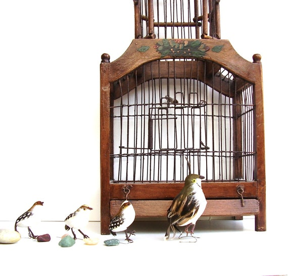 Vintage Wooden Birdcage Dome Wood & Wire Victorian Style