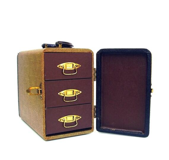 Vintage Luggage Baja 1940s Case Gold Brown Tweed