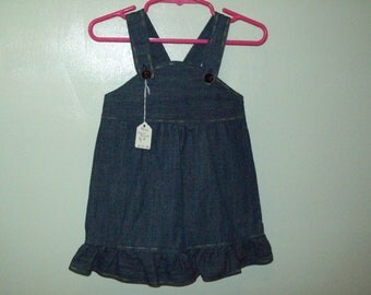 Denim Jumper, Infant Dark Blue, Ruffled, Size 18 to 21 pounds--Ready to Ship, Clearance Sale