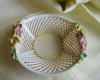 Vintage Italian Porcelain Bowl - Floral Lattice Bowl, Pecunia Handpainted Basket, Made in Italy, Easter Decor, Mother's Day Gift, Home Decor