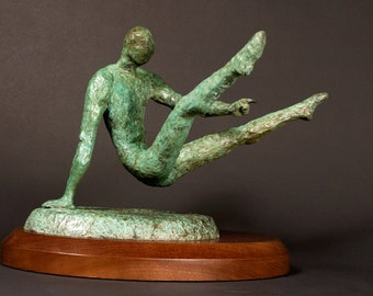 Breakdancing- Original Bronze figure with a greenish patina and wood base