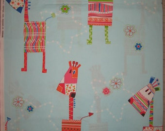 Large giraffes on light blue fabric Imported from Asia 1 yard