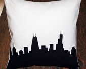 Chicago Skyline Throw Pillow, Black and White, 14x14 Includes Insert