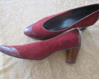 REDUCED Dark Red, Burgundy Suede Leather Vintage Heels, Pumps, Dress Shoes with stacked wood heels, Size 8.5