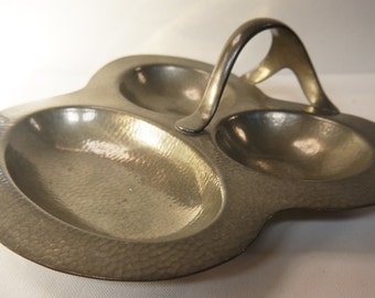 Art Nouveau Pewter Dish Planished Pewter Trefoil 1900s