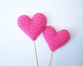 Wedding Cake Topper, Crochet Pink Hearts (Set of 2) Cake Toppers, For Valentine, Pink