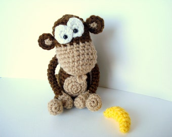 Pattern, Amigurumi Pattern, Amigurumi Monkey Pattern, Crocheted Monkey Pattern with Banana, Tutorial