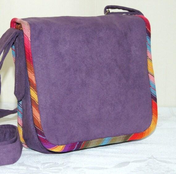 Purple Autumn Bag with Rainbow Babywearing Messenger Bag with La Poche a Kangorou