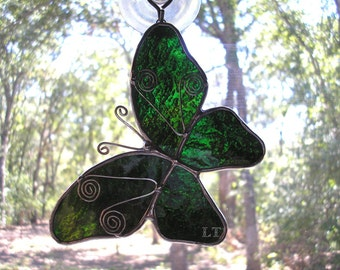 LT Stained glass green Butterfly suncatcher light catcher ornament with a little fancy wire work