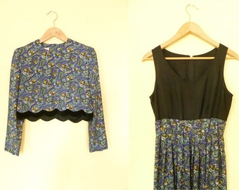 Vintage floral paisley two piece dress / black steel blue / sleeveless long dress / crop jacket / medium