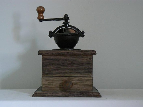 Antique Style Mechanical Coffee Grinder -  Handmade wooden base - CG25