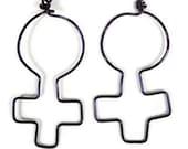 Feminist Jewellery Dangle Earrings Pride Purple Jewelry Woman Symbol Female Feminism Womens Rights Girl Power Silver Plated Ear Earwear 174