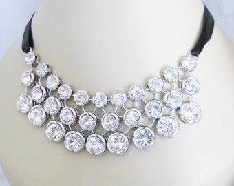 Bib Style Statement Wedding Necklace in  silver tone and Black Satin Ribbon Great Bridal Wedding Jewelry