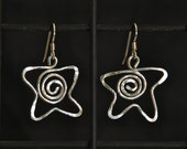 Sterling Silver Earrings Star Shaped Spirals Dangling Pierced