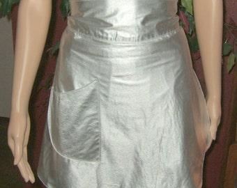 Vintage apron silver hostess apron half apron Vintage Kitsch apron sexy apron Christmas apron New Year's eve apron sexy party apron