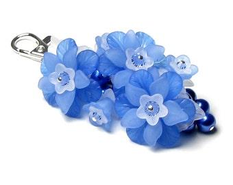 Blue Mountain Flower Crystal Pearl Cluster Silver Handbag Charm