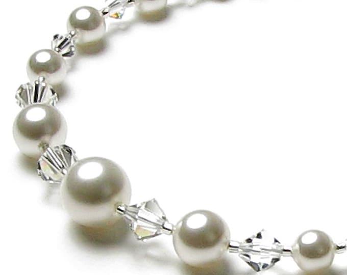 White Chiffon Swarovski Pearl Wedding Necklace, Romantic White Pearl and Swarovski Crystal Sterling Silver Heart Clasp Bridal Jewelry, Gift