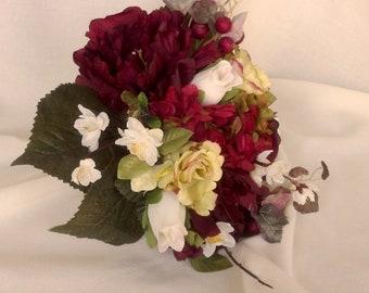 Bridal Bouquet boutonniere set burgundy red silk Wedding Flowers ready ship cranberry, ivory, green Autumn fall destination wedding