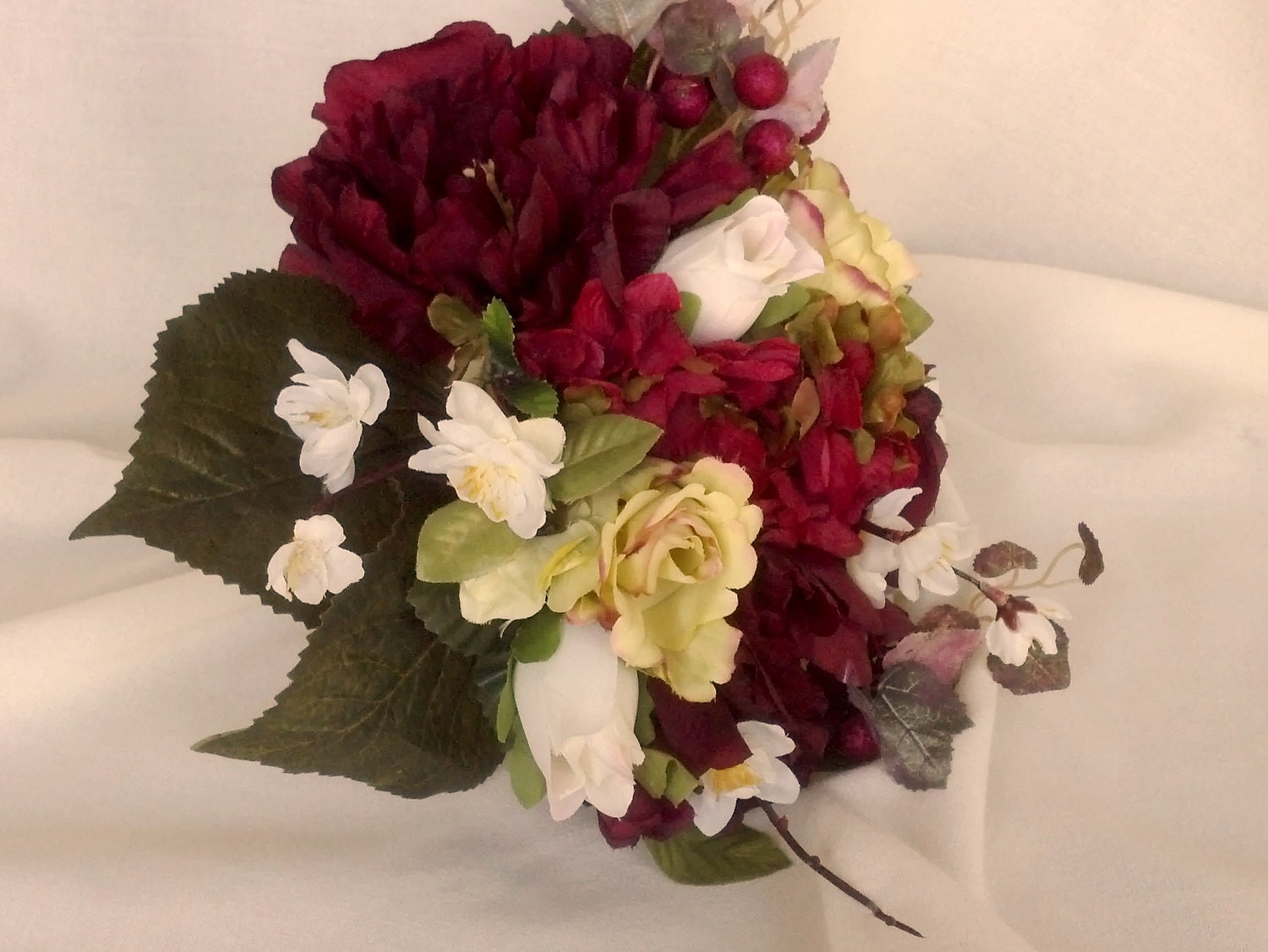 Bridal Bouquet Boutonniere Set Burgundy Red Silk Wedding