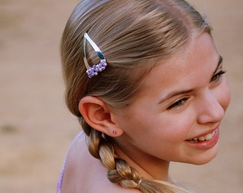 CLEARANCE - Thistle Barrette - lavender glass pearls, Swarovski crystals, steel heart snap clip for girls, teens, or women by reynared