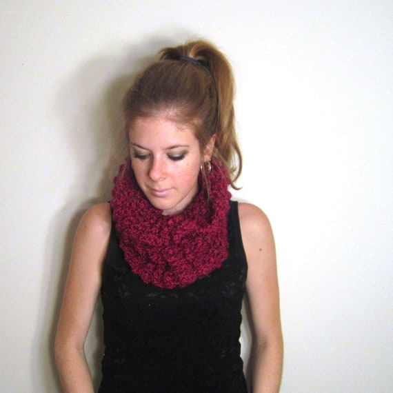 Chunky Cowl Magenta Scarf Knit - The Clements Cowl