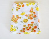 CLEARANCE vintage white yellow orange retro floral pillowcase
