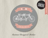Custom Wedding Stickers - Bicycle Built for Two