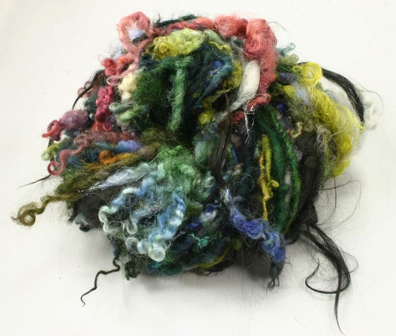 Handspun art yarn Fairies garden, 3.5 oz, 41 yards, 90 % wool, 5 perc.alpaka and 5 perc. polyester (angelina)
