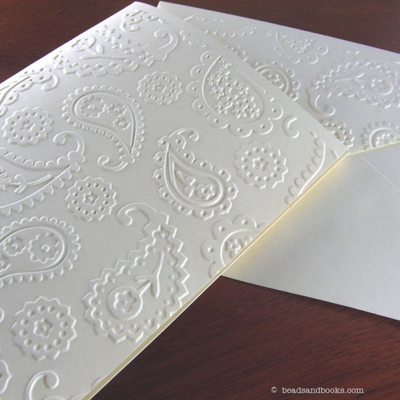 Paisley Cards - 8 Elegant Handmade Cards with Flowers