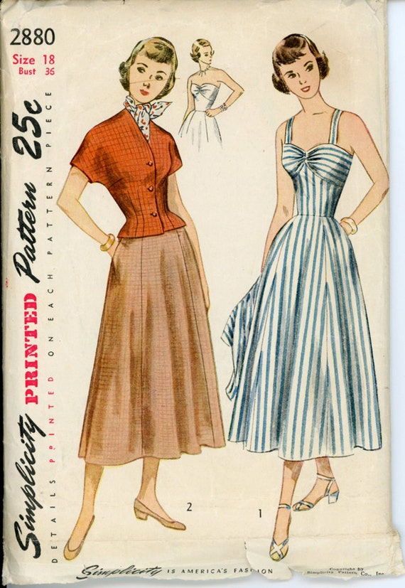 Simplicity 2880 Misses 1940s Sundress and Jacket Pattern Strapless or Shoulder Strap Bra Bodice Womens Vintage Sewing Pattern Bust 36
