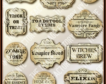 Halloween Printable Frames and  Labels, for all your digital crafting needs. Download and Print (TIFNYC-HWNLBL-2)