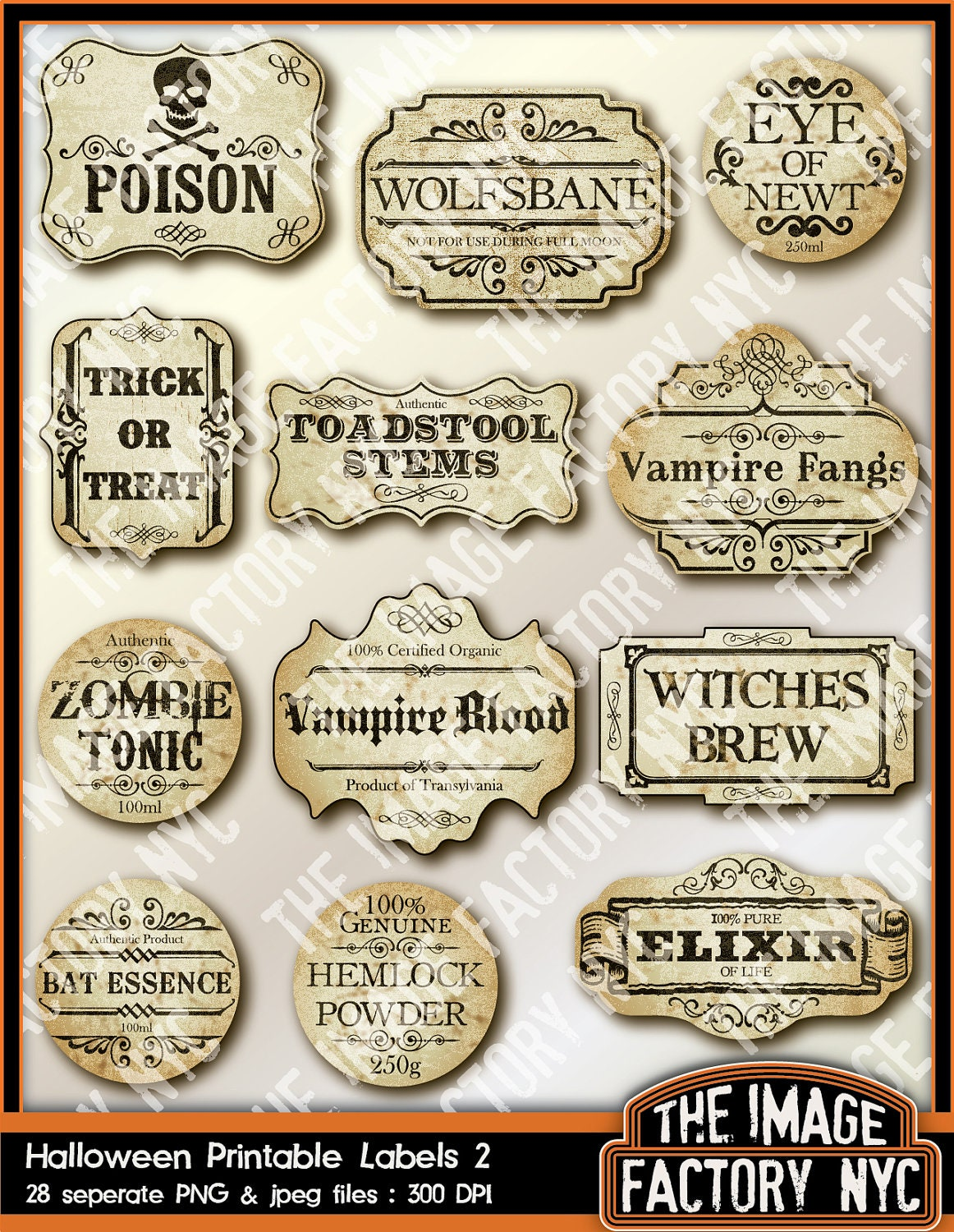 Resource image pertaining to printable halloween labels