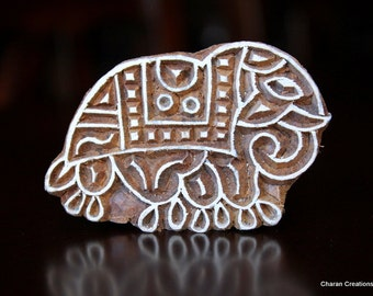 ON SALE Hand Carved Indian Wood Textile Stamp Block- Elephant
