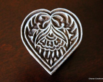 Hand Carved Indian Wood Textile Stamp Block- Heart Motif (Reduced)