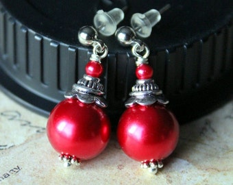 Red Pearl Petite Earrings